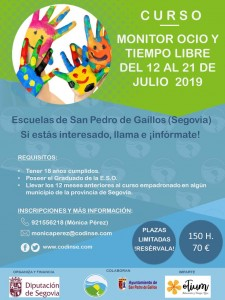 CARTEL CURSO MONITOR OCIO Y TIEMPO LIBRE 12 AL 21 JULIO
